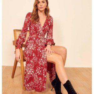 Reformation susanna bryce red Wrap midi dress sz L